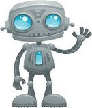 Robot,Cartoon,Cyborg,Cute,Cheerful,Vector,Waving,Smiling,Blue,Gray,Hello,Forecasting,Ilustration,Machinery,Smiley Face,Vector Icons,Vector Cartoons,Technology,Electronics,Hawaii Islands,Greeting,Futuristic,Humor,Illustrations And Vector Art