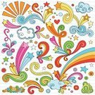 Doodle,Cloud - Sky,Psychedelic,Rainbow,Vector,Star - Space,Lined Paper,Star Shape,Funky,Fun,Multi Colored,Psychedelic Music,Back to School,Teen Pop,Swirl,Holidays And Celebrations,Parties,Vector Ornaments,Illustrations And Vector Art,Abstract,Ilustration,Spiral Notebook,1960s Style,Scroll Shape