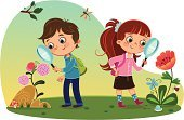Child,Little Boys,Cartoon,Little Girls,Magnifying Glass,Learning,Springtime,Studying,Insect,Nature,Plant,School Children,Cute,Discovery,Looking,Activity,Landscape,Examining,Journey,Ilustration,Outdoors,Education,Human Eye,Backpack,Grass,Smiling,Flower,Lawn