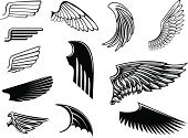 Wing,Angel,Tattoo,Retro Revival,Bird,Silhouette,Vector,heraldic,Flying,Abstract,Symbol,Community,Design,Pattern,Sign,Stencil,Design Element,Ornate,Computer Graphic,Animal,Gothic Style,Black Color,Insignia,Feather,Backgrounds,Part Of,Shape,Heaven,Decoration,Freedom,Art,Isolated,Isolated Objects,White,Single Object,Illustrations And Vector Art,Medieval,Set,Ilustration,Concepts And Ideas,Fantasy