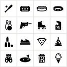 Symbol,Computer Icon,Traveling Carnival,Icon Set,Entertainment,Roller Skate,Hot Dog,Roller Skating,Amusement Park,Ice Cream,Sport,Amusement Arcade,Bowling,Arcade,Bumper Car,Teddy Bear,Food,Miniature Golf,Pizza,Leisure Games,Ticket,Party Hat,Black Color,Popcorn,Fun Center,laser tag,Baseball - Sport