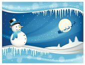 Icicle,Winter,Landscape,Snowman,Sky,Moon,Snow,Winter,Vector Backgrounds,Night,Nature,Illustrations And Vector Art,Multi Colored,Vector,Holidays And Celebrations,Holiday Backgrounds,No People,Ilustration,Blue,Santa Claus,Horizontal