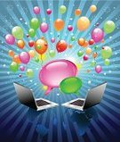 Internet,Laptop,Design,Party - Social Event,E-Mail,Birthday,Bubble,Talking,Carnival,Greeting,Speech Bubble,Message,Celebration,Confetti,Globe - Man Made Object,Firework Display,New Year's Eve,Balloon,Traveling Carnival,Backgrounds,Holiday,Pyrotechnics,Speech,Connection,Concepts