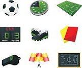 Soccer,Symbol,Computer Icon,Whistle,Football,Flag,Referee,Timer,Equipment,Green Color,Sport,Red,Blackboard,Shoe,Team Sports,Sports And Fitness,Vector Icons,Sports Symbols/Metaphors,Vector,Collection,Ball,Ilustration,Playing Field,Yellow,Set,Illustrations And Vector Art