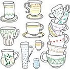 Tea - Hot Drink,Coffee - Drink,Cafe,Coffee Cup,Cup,Mug,Doodle,Pattern,Latte,Bird,Line Art,Ilustration,Colors,Saucer,Color Image,Art,Vector,Heat - Temperature,Container,Striped,Sketch,In A Row,Espresso,Drink,Isolated,Digitally Generated Image,Close-up,Spotted,Clip Art,White,Cultures,Small,Black Color,Cappuccino,Design,Brown,Dark,Clipping Path
