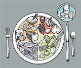 Ready-To-Eat,Healthy Eating,Healthy Lifestyle,Protein,Meal,Dieting,Unhealthy Eating,Plate,Food And Drink,Vegetable,Food Staple,Fruit,Place Setting,Wholegrain,You Are What You Eat,Vector,Ilustration,Dairy Product