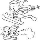 Coloring Book,Winter,Skiing,Cartoon,Ski,Domestic Cat,Black And White,Sport,Pets,Dog,Cute,Black Color,Ski Slope,Drawing - Art Product,Characters,Childishness,Flying,Cap,Fun,Weather,Happiness,Cheerful,Laughing,Enjoyment,Smiling,Illustrations And Vector Art,Competitive Sport,Young Animal,Sports Race,Friendship,Ilustration,Sports Glove,Scarf,Cold - Termperature,Relaxation,Action,Outline,Small,Mammal,Sports And Fitness,Cats,Speed,Competition,Animals And Pets