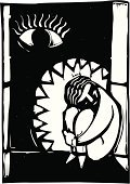 Depression - Sadness,Teenager,Loneliness,Mental Illness,Sadness,Solitude,Concepts And Ideas,Illustrations And Vector Art,Frustration,Shadow,Woodcut,Monster,Fear,Animal Teeth