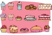 Cupcake,Cake,Doodle,Gateaux,Pastry,Cheesecake,Milkshake,Candy,Cookie,Raw Food,Vector Backgrounds,Illustrations And Vector Art,Food And Drink,Latte,Dessert
