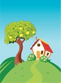 Hill,Tree,House,Meadow,Home Interior,Farm,Cartoon,Homes,Vector Backgrounds,Vector Cartoons,Architecture And Buildings,Apple - Fruit,Bush,Flower,Illustrations And Vector Art