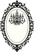 Frame,Ellipse,Old-fashioned,Retro Revival,Chandelier,Baroque Style,Wedding,Obsolete,Silhouette,Black Color,Romance,Computer Graphic,Vector,Ilustration,White,Flower,Electric Lamp,Art Product,Decoration,Vector Ornaments,Elegance,Architectural Detail,Indoors,Illustrations And Vector Art,Style,Architecture And Buildings,Holidays And Celebrations