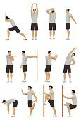 Stretching,Exercising,Relaxation Exercise,Sport,Gym,Warming Up,Men,Flexibility,Muscular Build,Ilustration,Strength,Vector,Flexing Muscles,Exercise,Actions,Beauty And Health,Painted Image
