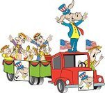 Cartoon,Political Rally,Characters,bandwagon,Election,Musical Band,Democratic Party,Candidate,Politics,Humor,Animal,Illustrations And Vector Art,Vector Cartoons,Donkey,Truck,Men,Cart,Government,Male,Music,Art Product,Voting,Ilustration,Mule,Mammal,Industry,People,Marketing