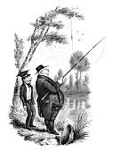 Fishing,Men,Two People,Old-fashioned,Engraving,Engraved Image,Humor,Ilustration,UK,Satire,Old,Off Target,History,Fishing Tackle,British Culture,Only Men,Fishing Line,People,Hat,19th Century Style,Vertical,Outdoor Pursuit,The Past,Sports And Fitness,Mature Men,Adults,Individual Sports,Fat Cat,Fool,Historical Clothing,Overweight,Art,Accident,Image Created 19th Century,European Culture,Drawing - Art Product,Antique,English Culture,Art Product,Black And White,Tree,England,Sayings,Europe,Lifestyle,Period Costume,Social History