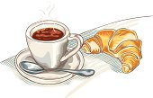 Breakfast,Croissant,Pastry,Coffee - Drink,Cafe,Coffee Cup,Vector,Food,Snack,Restaurant,Bread,Baked,Latte,Brioche,Morning,Espresso,Table,Refreshment,Relaxation,Spoon,Saucer,Cup,Sweet Food,Cappuccino,Frothy Drink,White,Drink,No People,Illustrations And Vector Art,Plate,Chocolate,Drinks,Food And Drink,Yellow,Freshness,Dessert,Close-up,Heat - Temperature,Sweet Bun,Vector Cartoons,Baking