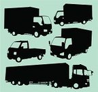 Truck,Delivery Van,Silhouette,Semi-Truck,Pick-up Truck,Mini Van,Back Lit,Transportation,Van - Vehicle,Land Vehicle,Delivering,Freight Transportation,Black Color,Cargo Container,Cut Out,Trucking,Car,Objects/Equipment,Isolated,Long,Collection,Transportation,Mode of Transport,Industrial Objects/Equipment,Industry,Heavy Industry