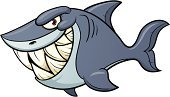 Shark,Cartoon,Characters,Vector,Illustrations And Vector Art,Animals And Pets,Vector Cartoons,Color Gradient,Sea Life,Blue,Toothy Smile,Evil,Smiling,Isolated,Isolated On White