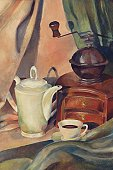 Coffee Pot,Coffee - Drink,Painted Image,Coffee Cup,Old-fashioned,Espresso,Cafe,Food And Drink,Concepts And Ideas,Drinks,Cup,Coffee Grinder,Black Coffee,Watercolor Painting,Still Life,Hot Drink