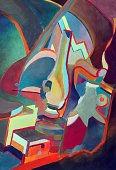 Cubism,Abstract,Painted Image,Ilustration,Geometric Shape,Shape,Form,Modern,Visual Art,Arts And Entertainment,Multi Colored,Watercolor Painting,Vibrant Color