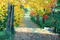 Oil Painting,Impressionism,Paintings,Landscape,Painted Image,Autumn,Light - Natural Phenomenon,Single Lane Road,Footpath,Tree,Minneapolis,Art,Street,Minnesota,Forest,Color Image,Colors,Igniting,Leaf,Farm,High Contrast,Rural Scene,Road,Brush Stroke,Shade,Land,Travel Locations,Visual Art,Contrasts,Concepts And Ideas,Time,Arts And Entertainment,Composition,Shadow,Season