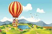 Hot Air Balloon,Child,Landscape,Travel,Cartoon,Landscaped,Adventure,People Traveling,Little Girls,Scenics,Aerial View,Summer,People,Rural Scene,Fun,Transportation,Ilustration,Mode of Transport,Hand-Held Telescope,Friendship,Cheerful,Journey,Happiness,Riding,Flying,Activity,Joy,Nature,Sky,Drawing - Art Product,Female,Lifestyle,People,Looking At View,Leisure Activity,Vector,Vector Cartoons,Male,Illustrations And Vector Art,Babies And Children,Smiling,Recreational Pursuit,Little Boys,Beautiful