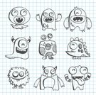 Monster,Doodle,Animal,Cute,Alien,Humor,Drawing - Art Product,Fun,Characters,Scribble,Note Pad,Vector Cartoons,Vector Icons,Illustrations And Vector Art
