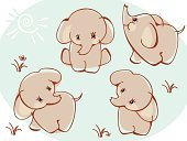 Elephant,Young Animal,Cute,Animal,Simplicity,Australia,Vector,Cartoon,Drawing - Art Product,Africa,Wallpaper,Ink,Animal Themes,Humor,Set,Backgrounds,Cub,Nature Backgrounds,Savannah,Beauty In Nature,Blue,Wild Animals,Walking,Animals And Pets,Mammal,Isolated,Part Of,Isolated On Blue,Illustrations And Vector Art,Wildlife,Animals In The Wild,Softness,Ilustration,In A Row,Collection,Vector Cartoons,Nature