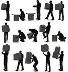 Moving House,Action,Silhouette,Moving Office,Physical Activity,Box - Container,People,Back Lit,Container,Balance,Leaving,Holding,One Person,Cardboard Box,Strength,Cardboard,Businessman,Standing,Heavy,Profile View,Walking,Multiple Image,Looking,Outline,Adult,Male,Clip Art,Digitally Generated Image,Full Length,Concepts And Ideas,Vertical,Ilustration,Vector,Black And White,Computer Graphic,White Background,Black Color,Studio Shot,Modern Life,Side View,Excess,People,Illustrations And Vector Art,Isolated,On The Move,One Man Only