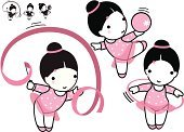 Ribbon,People,Sport,Ball,Aerobics,Gym,Pink Color,Healthy Lifestyle,Beauty,Exercising,Baby,Child,Cute,Gymnastic Rings - Equipment,Illustration,Cartoon,Sports Training,Girls,Physical Activity,School Gymnasium,Illustrations And Vector Art