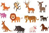 Monkey,Donkey,Kangaroo,Animal,Fox,Lion - Feline,Cartoon,Tiger,Wolf,Vector,Sheep,Wild Boar,Domestic Cat,Animated Cartoon,Dog,Set,Pig,Animals In The Wild,Isolated,Animal Hair,Icon Set,Deer,Collection,Illustrations And Vector Art,Vector Cartoons,Animals And Pets,Pink Color,Multiple Image,Mammal