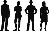 Silhouette,People,Men,Women,Outline,Standing,Vector,Group Of People,Ilustration,Four People,Adult,Friendship,White Background,Black Color,Isolated,Tracing,Isolated On White,Monochrome