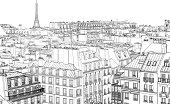 Paris - France,Cityscape,City,France,Urban Scene,Roof,Aerial View,Drawing - Art Product,Eiffel Tower,City Life,Architecture,Scenics,Ilustration,Vector,Town,Pencil Drawing,Old,Built Structure,Tower,Chimney,Sky,Window,Europe,Capital Cities,Architecture And Buildings,Illustrations And Vector Art,Travel Locations