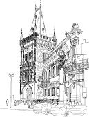 Prague,Cityscape,Sketch,City,Vector,Architecture,Town,Gothic Style,Urban Scene,Palace,Town Square,Castle,Tower,Architecture And Buildings,Space,Catholicism,Monuments,Christianity,Famous Place,People,Bohemia