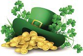 St. Patrick's Day,Irish Culture,Leprechaun,Hat,Four Leaf Clover,Fairy Tale,Clover,Springtime,Coin,Group of Objects,Clover Leaf Shape,Grass,Luck,Vector,Holidays And Celebrations,Treasure,Celebration,Gold Colored,Illustrations And Vector Art,Plant,Holiday,Ideas,Gold,Copy Space,Concepts,Floral Pattern,Mystery,Abstract,Magic,Nature,Cultures,Mythology,Magic Trick,Isolated,Majestic,Wealth,Flower,Spring