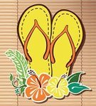Flip-flop,Hibiscus,Hawaiian Culture,Joy,Sandal,Tropical Climate,Single Flower,Surfing,Surf,Fun,Pattern,Summer,Vacations,Tropical Flower,Nature,Pair,Casual Clothing,Curtain,Bamboo,Outdoors,Funky,yeallow,Youth Culture,Multi Colored,Idyllic,Leaf