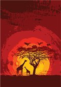 Africa,Sunset,Tree,Silhouette,Acacia Tree,Grunge,Giraffe,Animal,Savannah,Safari Animals,Wildlife,Animals In The Wild,Vector,Bird,Animals And Pets,Nature,Sun,Red,Dusk,Twilight,Tropical Climate