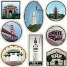 San Francisco County,Coit Tower,Cable Car,California,Retro Revival,Mission,Golden Gate Bridge,San Francisco Bay Area,Chinatown,Old-fashioned,Ferry Building,Japantown,Architecture,Ilustration,Vector,Architecture And Buildings,Travel Locations,Pagoda,Label,Illustrations And Vector Art