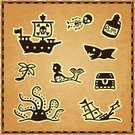 Pirate,Treasure Chest,Treasure Map,Map,Shark,Cartography,Treasure,Icon Set,Role-playing Games,Galleon,Human Skeleton,Monster,Rum,Exploration,Parchment
