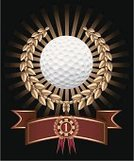 Golf,Trophy,Award,Golf Ball,Laurel,Medal,Bay Tree,Gold Colored,Gold,Banner,Coat Of Arms,Number 1,Black Background,Wreath,Sport,Laurel Wreath,First Place,Sports And Fitness,Illustrations And Vector Art,Sunbeam,Light Beam,Concepts And Ideas