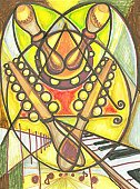 Latin Music,Latin American and Hispanic Ethnicity,Art,Cubism,Latin American Culture,Music,Painted Image,Salsa,Musical Instrument,Musical Theater,Piano Key,Art Product,Paintings,Music,Visual Art,Dance,Arts And Entertainment,Piano,Expressionism,Calypso Music,Musician