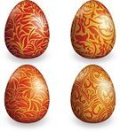 Easter Egg,Gold Colored,Eggs,Red,Set,Decorating,Easter,Celebration,Vector,Holiday,Ilustration,Collection