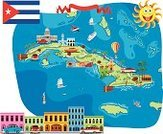 Map,Cuba,Cartoon,Travel,Cultures,Business Travel,People Traveling,Tourism,Cuban Flag,Havana,Vector Cartoons,Illustrations And Vector Art,Vector Icons