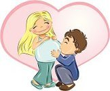 Human Pregnancy,Mother,Women,Baby,Men,Kissing,Blond Hair,Couple,Human Abdomen,Cheerful,Father,Love,Anticipation,Happiness,Vector,Heart Shape,Lifestyle,People,Babies And Children,Kiss - Entertainment Group,People,Families,Brown Hair,Ilustration,Cartoon,Smiling,Hope,Parent