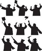 Graduation,Student,Mortar Board,Silhouette,Education,Holidays And Celebrations,Illustrations And Vector Art,Set,Happiness,Gesturing