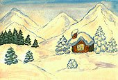 Ilustration,Art,Paintings,Creativity,Fir Tree,Watercolor Painting,Arts And Entertainment,Residential Structure,Painted Image,Winter,Mountain,hand drawn,Illustrations And Vector Art,Visual Art,Drawing - Art Product,House,Landscape,Snow,Hill