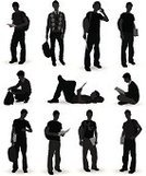 Student,Silhouette,College Student,Back Lit,People,Headphones,Sitting,Male,Reading,Expertise,Book,Men,Studying,Education,University,Front View,Black And White,Leaning,Standing,Communication,Casual Clothing,Full Length,Learning,Cut Out,Adults Only,Aspirations,Side View,Teens,Holding,Hand Sign,Isolated On White,Leisure Activity,Ilustration,Computer Graphic,Hobbies,Digitally Generated Image,White Background,Isolated,Sitting On Floor,Young Adults,People,Gesturing,Medium Group Of People,Lifestyle,Multiple Image,Concentration,Vertical,Clip Art,Motivation