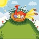 Beauty In Nature,Bird,Sky,Bird's Nest,Butterfly - Insect,Animals And Pets,Illustrations And Vector Art,Birds,Eggs,Vector Cartoons,Flower,Grass,Red,Cloud - Sky,Sun