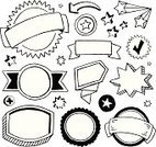 Doodle,Drawing - Art Product,Banner,Circle,Placard,Arrow Symbol,Sketch,Star Shape,Award Ribbon,Pencil Drawing,Sign,Ilustration,Seal - Stamp,Symbol,Ribbon,Design Element,Call-out,Black And White,Three-dimensional Shape,Three Dimensional,Computer Icon,Vector Icons,Illustrations And Vector Art,Vector Ornaments
