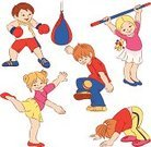 Child,Boxing,Aerobics,Exercising,Little Girls,Little Boys,Cartoon,Babies And Children,Vector Cartoons,People,Lifestyle,Vector,Illustrations And Vector Art,Toddler