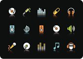 Music,Symbol,Computer Icon,Icon Set,Sound,Microphone,Headphones,Audio Equipment,Speaker,The Media,Multimedia,Vector,CD,Set,Stereo,Digitally Generated Image,Series,Color Image,CD-ROM,Black Background,Communication,Illustrations And Vector Art,Business,Concepts And Ideas